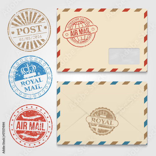 vintage envelopes template with grunge postal stamps buy this