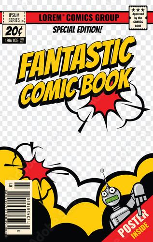 Photo Comic book cover vector template