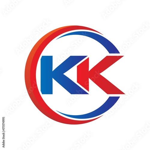 Kk Logo Vector Modern Initial Swoosh Circle Blue And Red Buy This Stock Vector And Explore Similar Vectors At Adobe Stock Adobe Stock
