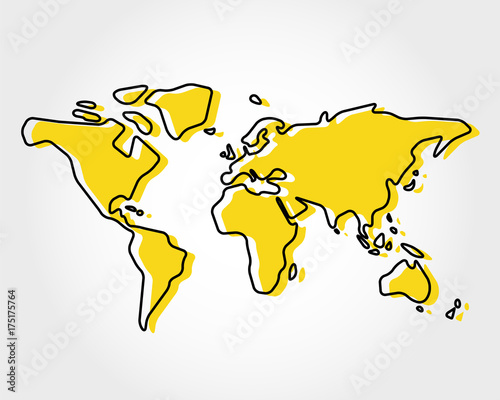 Obraz yellow world map with rectangle - fototapety do salonu