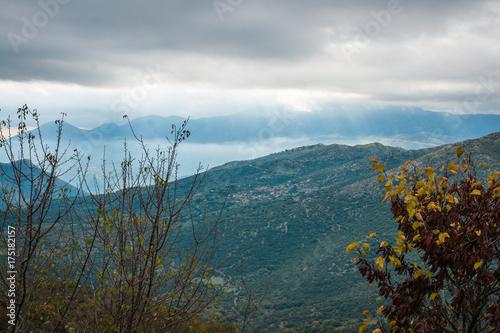 In de dag Groen blauw Autumn landscape in gorge of Louise on Peloponnese in Greece