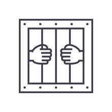 Jail Vector Line Icon, Sign, I...