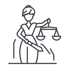 Justice Statue Vector Line Icon, Sign, Illustration On White Background, Editable Strokes