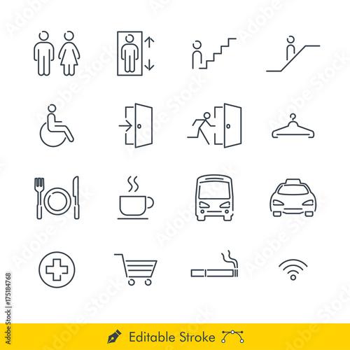 Fotografie, Obraz  Simple Public Navigation Signs Icons / Vectors Set - In Line / Stroke Design wit