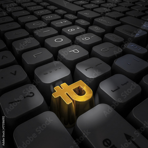 Money Key Ruble 3d Illustration Of Computer Keyboard With Gold