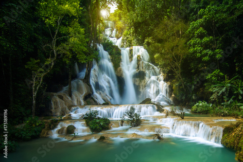 Kuang Si waterfall sunrise in Luang Prabang, Laos