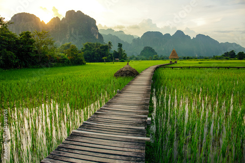 Sunset over green rice fields and mountains in Vang Vieng, Laos Canvas Print