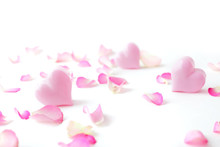 Pink Heart And Rose Petals