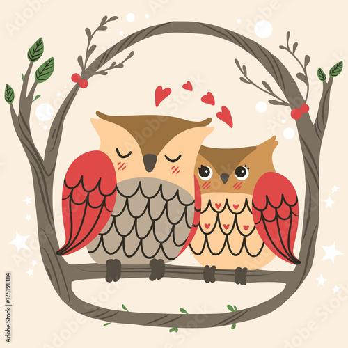 urocza-ilustracja-zakochanej-pary-sow-na-galezi