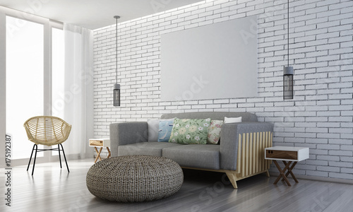 The Interior Design Of Lounge Sofa And Living Room And White Brick Wall Texture Background 3d Rendering Model Stock Photo Adobe Stock