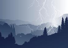 Vektor Berglandschaft Mit Blitzen Bei Gewitter