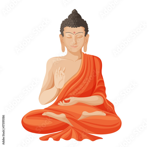 Leinwand Poster Gautama buddha with raised right hand on vector illustration