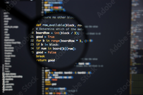Real Python code developing screen Canvas Print