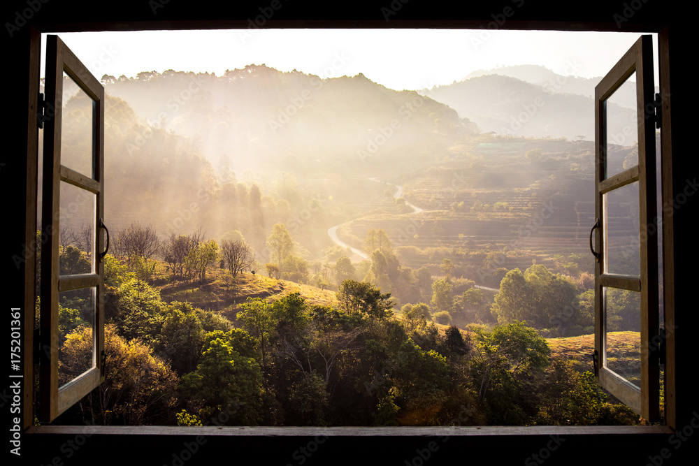 Fototapeta landscape nature view background. view from window at a wonderful landscape nature view with rice terraces and space for your text in Chiangmai, Thailand , Indochina