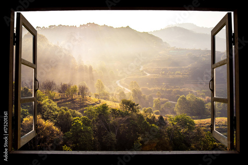 La pose en embrasure Beige landscape nature view background. view from window at a wonderful landscape nature view with rice terraces and space for your text in Chiangmai, Thailand , Indochina