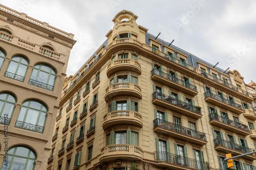 Facade of historical building in Barcelona city center, Spain Canvas Print