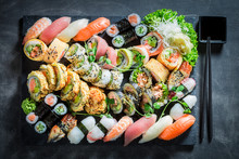 Healthy Sushi Set With Shrimps...