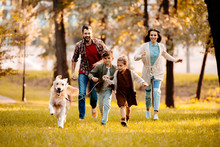 Family Running With Dog In Park