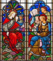NaklejkaLONDON, GREAT BRITAIN - SEPTEMBER 14, 2017: The teaching of Jesus on the stained glass in the church St. Michael Cornhill by Clayton and Bell from 19. cent.