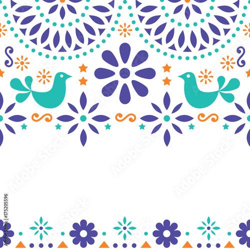 Fotografija  Mexican folk art vector greeting card, retro wedding or party invitation with mo