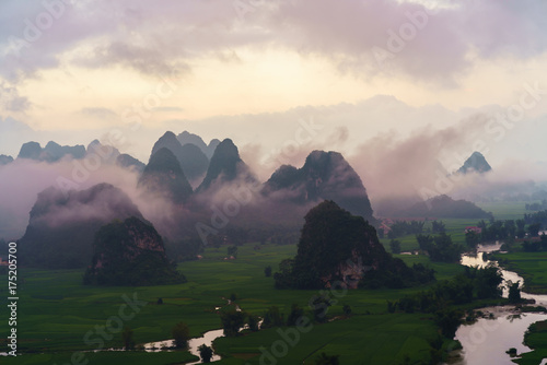 Printed kitchen splashbacks Turkey Vietnam landscape with rice field, river, mountain and low clouds in early morning in Trung Khanh, Cao Bang, Vietnam