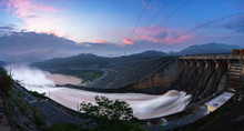Smooth Draining Water From The Hydroelectric Dam At Dawn