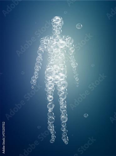 Fotografie, Obraz weightless feeling, man soul concept, light feeling inside, man silhouette build
