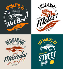 Vintage Roadster, Custom Hot Rod And Muscle Car Vector Tee-shirt Logo Isolated Set. Street Wear Superior Retro Tee Print Design.