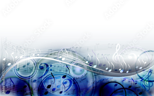 Abstract  sheet music design background with musical notes - 175210385