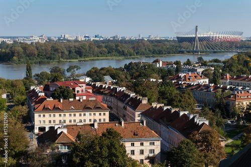 Obraz na dibondzie (fotoboard) Panoramę Warszawy, widok z lotu ptaka z dzwonnicy kościoła św. Anny po drugiej stronie Wisły