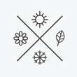 Vector set four seasons icons. the seasons winter spring summer autumn. Flat style, simple lines elements. Weather forecast. sun, flower, snowflake, leaf symbols