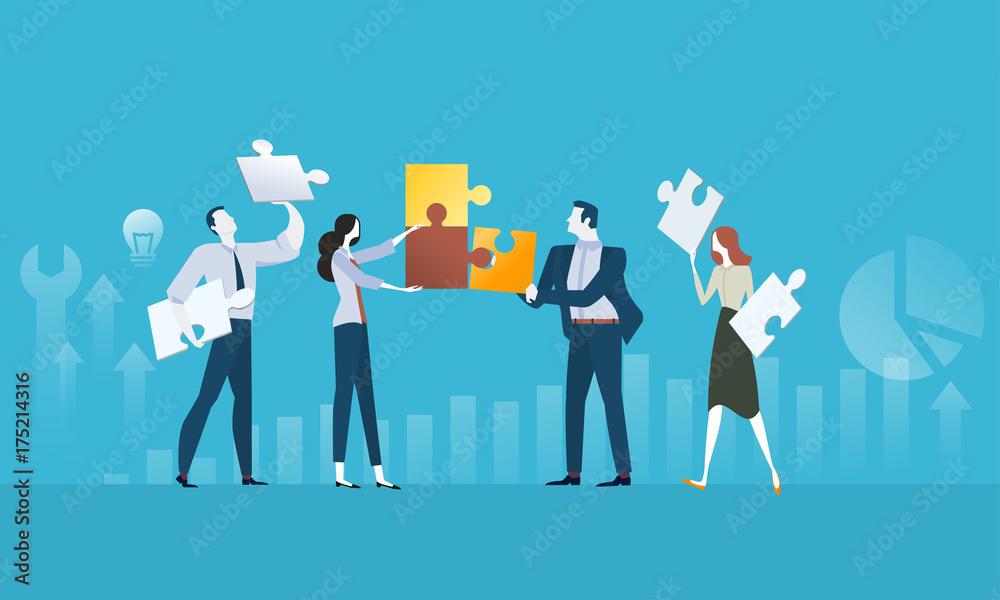 Fototapeta Solutions. Flat design business people concept. Vector illustration concept for web banner, business presentation, advertising material.