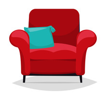 Red Armchair And Pillow. Vector