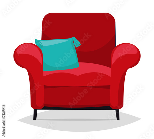 Red armchair and pillow. Vector Canvas-taulu