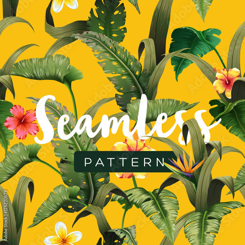 Poster Artificiel Bright tropical seamless pattern with jungle plants. Exotic background with palm leaves