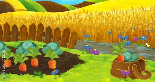 Wall Murals Yellow Cartoon happy farm scene with garden full of vegetables - illustration for children