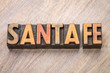 Santa Fe word abstract in letterpress wood type