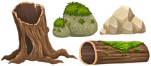 Log And Rocks With Moss On Top
