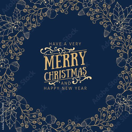 Fototapeta Golden christmas greetings at blue background
