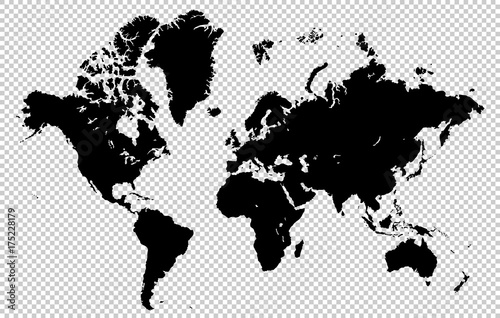 Spoed Fotobehang Wereldkaart World map isolated on a transparent background, highly detailed vector illustration. All elements are easily editable and located in separate layers