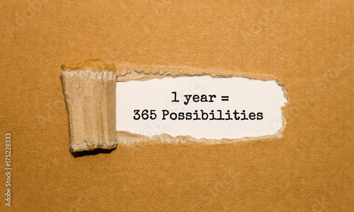 The text 1 Year is 365 Possibilities appearing behind torn brown paper Canvas-taulu