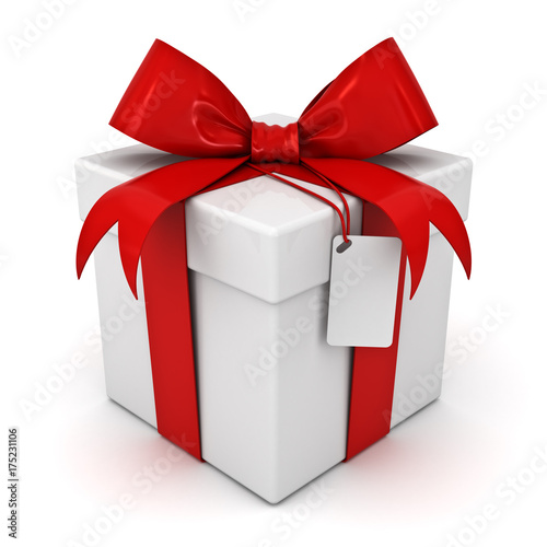 Gift box or present box with red ribbon bow and blank tag isolated on white background with shadow . 3D rendering. © masterzphotofo