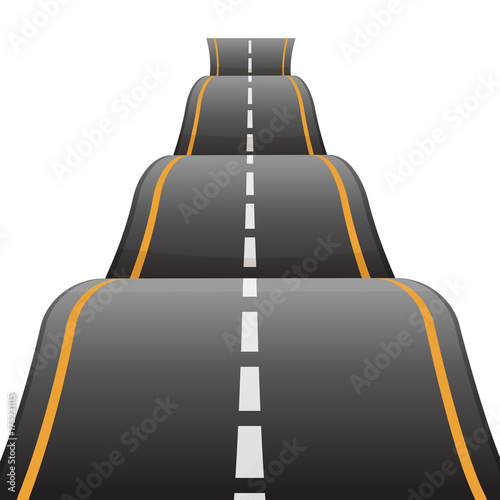 Fotografía  Bumpy road icon uneven dangerous wave path with marking vector