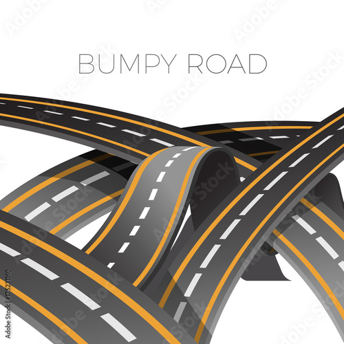 Láminas  Bumpy road icon uneven dangerous wave path with marking vector