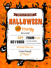 Halloween Party Invitation In Vector Frame.