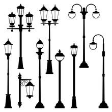 Old Street Lamps Set In Monoch...