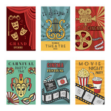 Posters Design Set With Theatr...