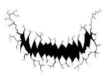 Cracks Stone Mouth Devil On White Background. Devil Vector In Concrete And Grunge Style. Horror Concept For Halloween.