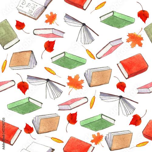 ilustracja-akwarela-ksiazki-wzor-recznie-malowane-stos-ksiazek-na-bialym-tle