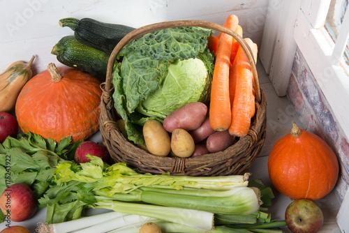 Keuken foto achterwand Groenten variety of raw vegetables to cooking pot-au-feu